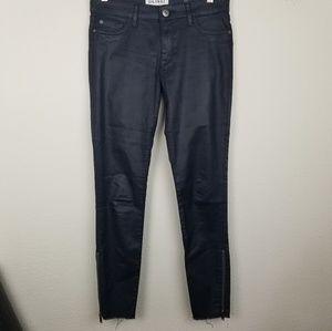 DL1961 28 Jeans Skinny Raw Hem Coated Margaux